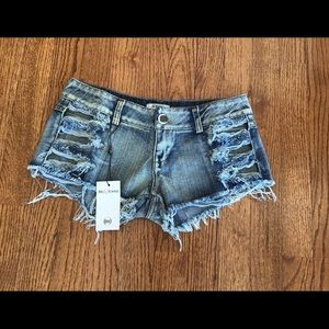 BeWicked Distressed Side Cutout Shorts - S…